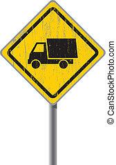 truck., gamle, vej underskriv