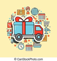 truck gift box transport logistic and delivery