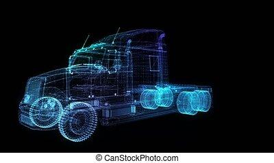 truck., glühen, degree., drehen, animation, bildung, 4k,...
