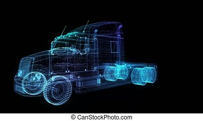 Truck. Glow points and line formation of 3d Model Truck....