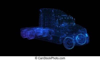 Truck. Glow points formation of 3d Model Truck. Rotating 360...