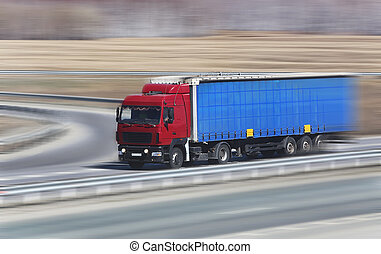 truck goes on highway - truck transports freight on country...