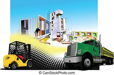 (truck), házhely, teherautó, épület