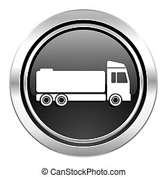 truck icon, black chrome button, cargo sign