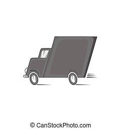 Truck icon, black monochrome style
