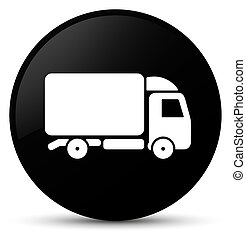 Truck icon black round button