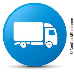 Truck icon cyan blue round button