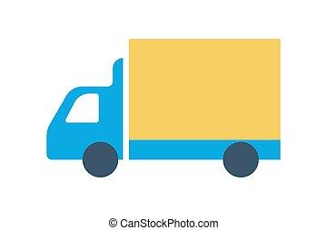 Truck icon. Delivery service symbol, transport silhouette