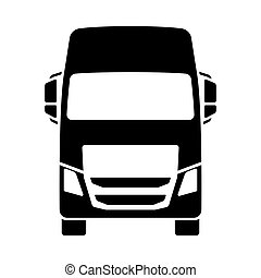 Truck Icon Front View. Black on White. Vector Illustration.