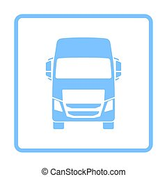 Truck Icon Front View. Blue Frame Design. Vector...