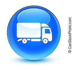 Truck icon glassy cyan blue round button