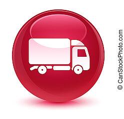 Truck icon glassy pink round button