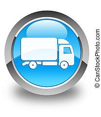 Truck icon glossy cyan blue round button