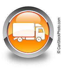Truck icon glossy orange round button