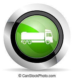 truck icon, green button, cargo sign