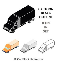 Truck icon in cartoon style isolated on white background. Transportation symbol stock vector illustration.