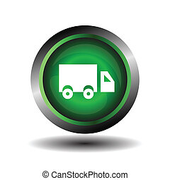 Truck icon on glossy green round