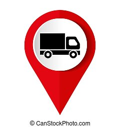 truck icon on square internet button
