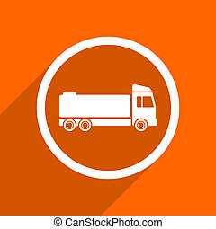 truck icon. Orange flat button. Web and mobile app design illustration