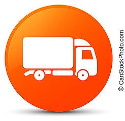Truck icon orange round button