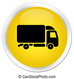 Truck icon premium yellow round button