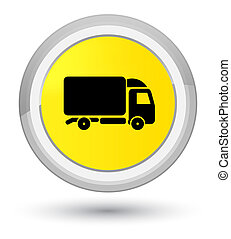 Truck icon prime yellow round button