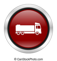 truck icon, red round button isolated on white background, web design illustration