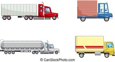 Truck icon set, cartoon style