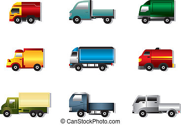 Truck icon set on white