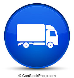 Truck icon special blue round button