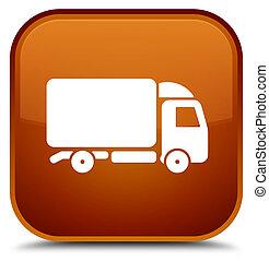 Truck icon special brown square button