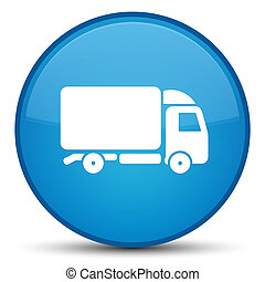 Truck icon special cyan blue round button