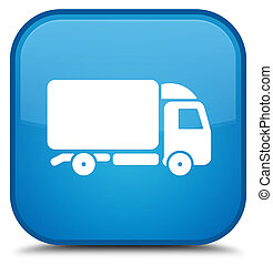 Truck icon special cyan blue square button