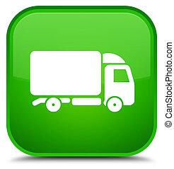 Truck icon special green square button