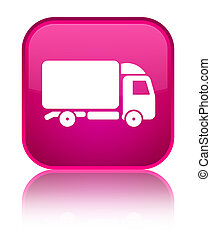 Truck icon special pink square button