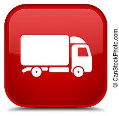 Truck icon special red square button