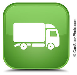Truck icon special soft green square button