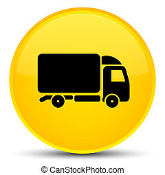 Truck icon special yellow round button