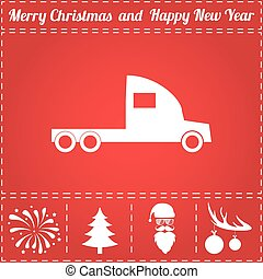 Truck Icon Vector. And bonus symbol for New Year - Santa...