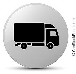 Truck icon white round button