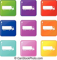 Truck icons 9 set