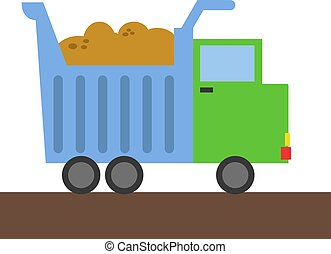 Truck, illustration, vector on white background.