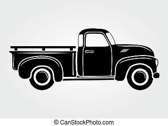 truck., illustration., vektor, fordon, pickupen, transport, årgång, retro