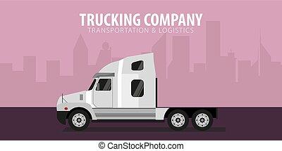 truck., illustration., vektor, logistisk, industri, delivery., transportera, baner, halv-