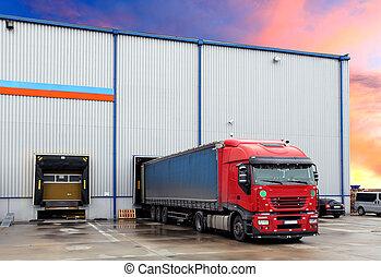 Truck in loading docks