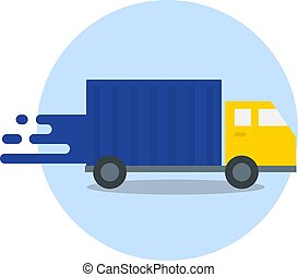 Truck in motion. Express delivery. Fast shipping isolated on white background. Vector Flat Icon