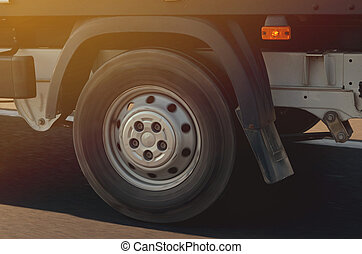 Truck in motion on road