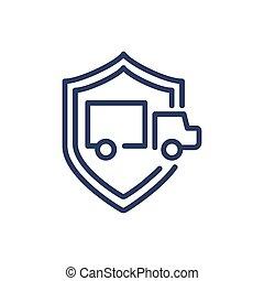 Truck in shield thin line icon