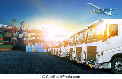 truck in shipping port for transport and cargo logistic industry