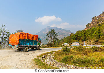 Truck in the mountains - Well packed truck in the nepalese...